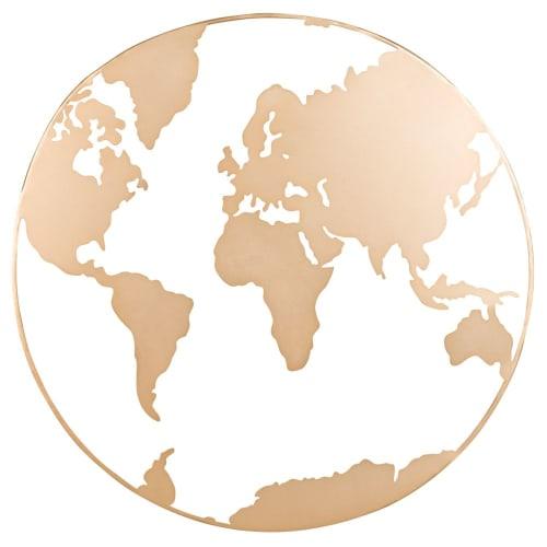 Gold Metal World Map Wall Art 70x70 Maisons Du Monde
