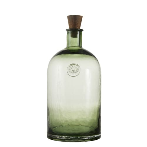 Green Tinted Glass Decorative Bottle With Stopper H34cm Kenyo Maisons Du Monde
