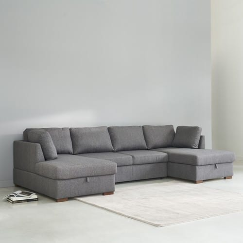 Grey 7 Seater U Shaped Sofa Bed