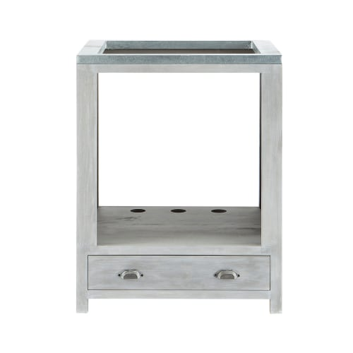 Grey Acacia Wood Kitchen Base Cabinet for Oven W70 Zinc ...