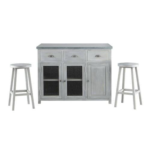 Magnificent Grey Acacia Wood Kitchen Island Two Stools W120 Interior Design Ideas Grebswwsoteloinfo