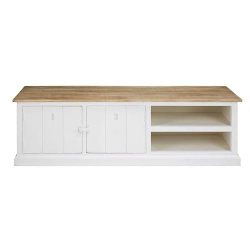 online store b41db 4996b Grey and white solid mango wood 2-door TV unit