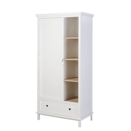 Guardarropa blanco con 1 puerta y 1 cajón