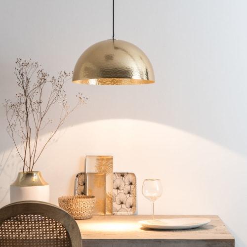 Hängelampe aus gehämmertem Metall, goldfarben | Maisons du Monde