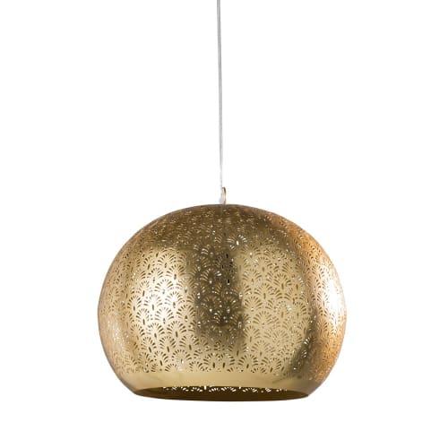 Hängelampe aus ziseliertem Metall, goldfarben