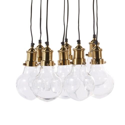Hängelampe mit 8 Glühbirnen aus Glas und goldfarbenem Metall | Maisons du Monde