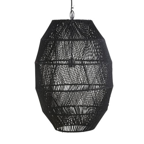 Hängeleuchte aus Rattangeflecht, schwarz D51   Maisons du Monde