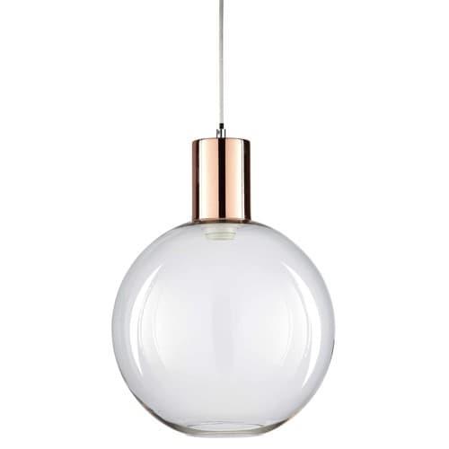 Hängeleuchte aus verkupfertem Metall und Glas D30