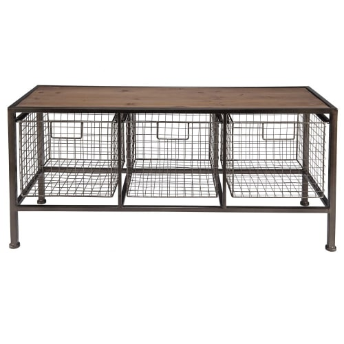 Grenenhouten Side Table.Halmeubel Van Grenenhout En Zwart Metaal Maisons Du Monde