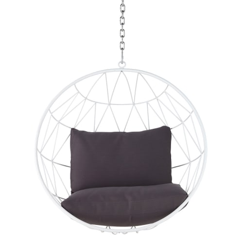 Hanging Garden Armchair In White Metal With Grey Cushions Palaos Maisons Du Monde