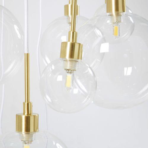 Wonderlijk Hanglamp met meerdere glazen bollen en goudkleurig metaal Medusa PN-17