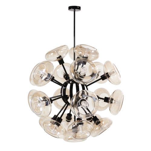 Massief Glazen Bollen.Hanglamp Van Zwart Metaal Met Glazen Bollen