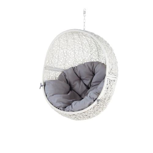 Hangstoel Vintage Wit.Hangstoel Voor In De Tuin Van Wit Wicker Cocon Maisons Du Monde
