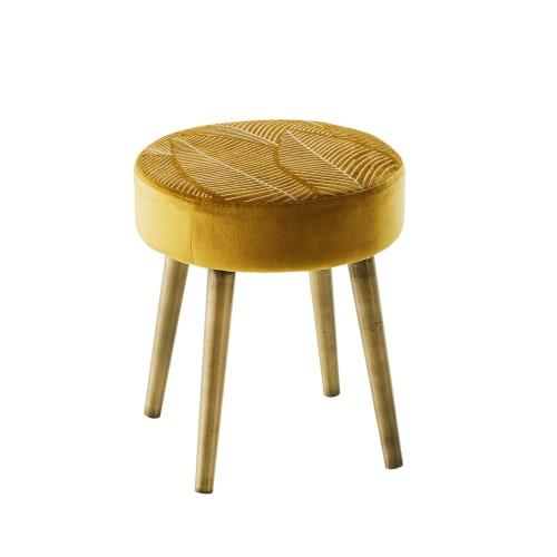 Hocker mit Bezug aus besticktem goldfarbenem Samt, Füße aus Kiefernholz | Maisons du Monde