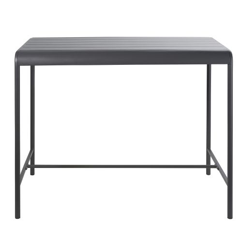Hoher Gartentisch aus grauem Metall für 4 Personen L130