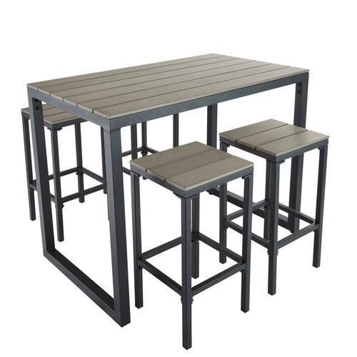 Hoher Gartentisch mit 4 Hockern aus Aluminium, L128