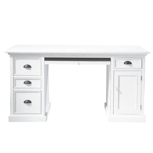 Holzschreibtisch mit 1 Tür und 4 Schubladen, weiß