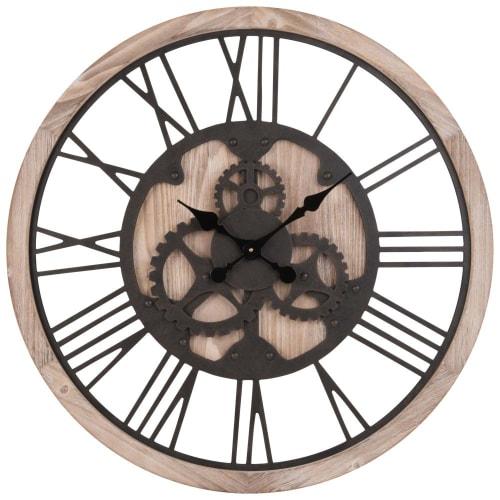 Horloge à rouages coloris naturel et noir D9  Maisons du Monde