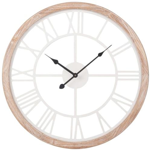 Horloge Blanche Et Coloris Naturel H50