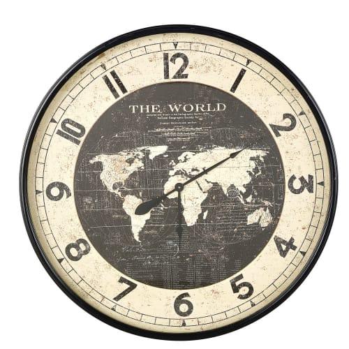 Horloge Carte Du Monde En Metal Noir D96 Atlas Maisons Du Monde