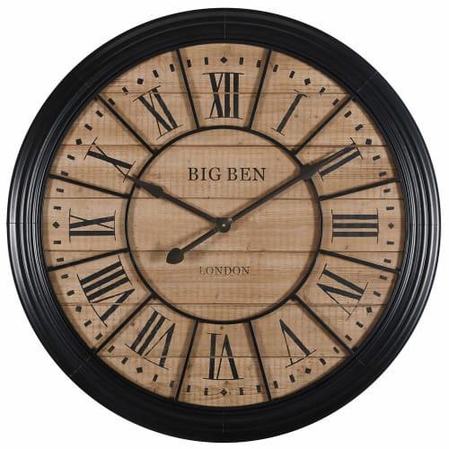 Horloge en sapin et métal noir D8  Maisons du Monde