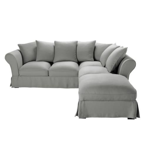 Housse de canapé d'angle convertible (6 cm) en lin froissé gris clair | Maisons du Monde