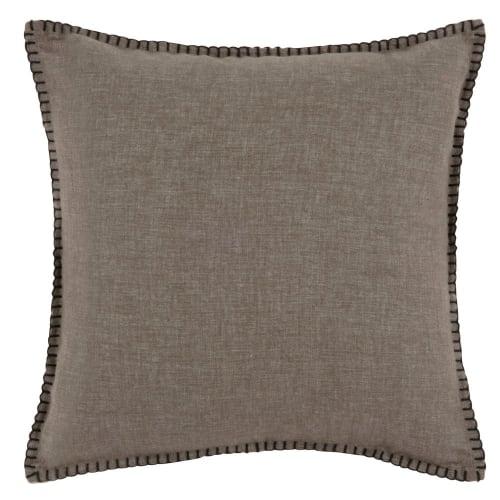 Housse de coussin en coton marron et noir