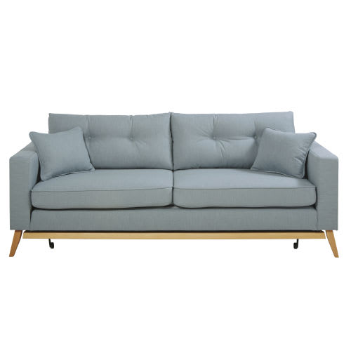 Ice Blue 3-Seater Scandinavian-Style Sofa Bed