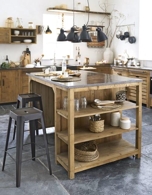 Îlot central cuisine 10 portes 10 tiroirs en pin recyclé effet vieilli   Maisons du Monde