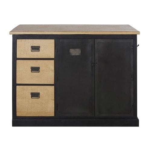 ilot central cuisine 3 portes 3 tiroirs en manguier massif acacia massif noir avec table etirable maisons du monde