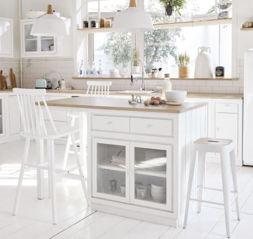 Îlot central cuisine 6 tiroirs 2 portes blanc