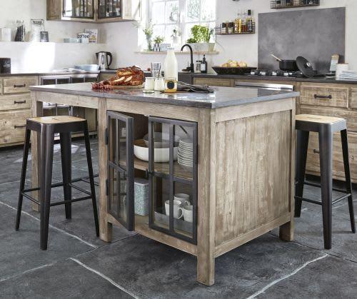 Ilot Central Table Escamotable: Îlot Central Cuisine En Pin Recyclé Et Pierre Bleue