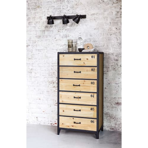 Indstrial Black Metal And Fir Wood 6 Drawer Tall Chest Of Drawers Docks Maisons Du Monde