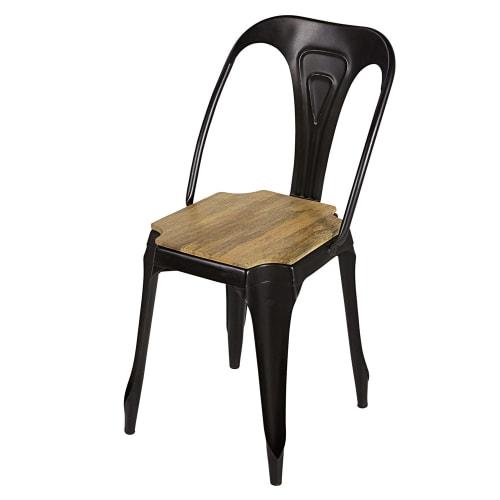 Matte Black Metal And Mango Wood Chair