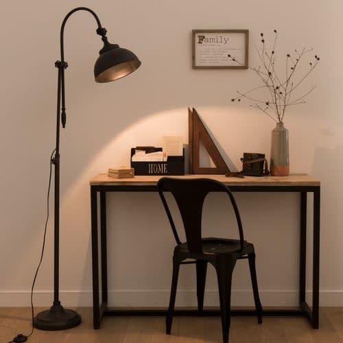 Industrial Style Black Metal Floor Lamp H 168 Cm