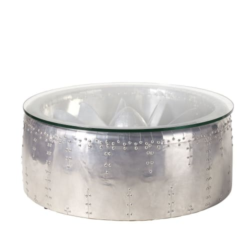 Ronde Salontafel Glas.Industriele Ronde Salontafel Van Aluminium En Glas Maisons Du Monde