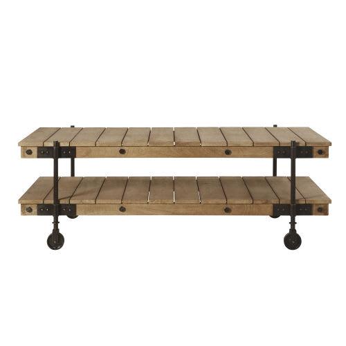 Industriele Tafel Op Wielen.Industriele Salontafel Met Wieltjes Van Mangohout En Zwart Metaal