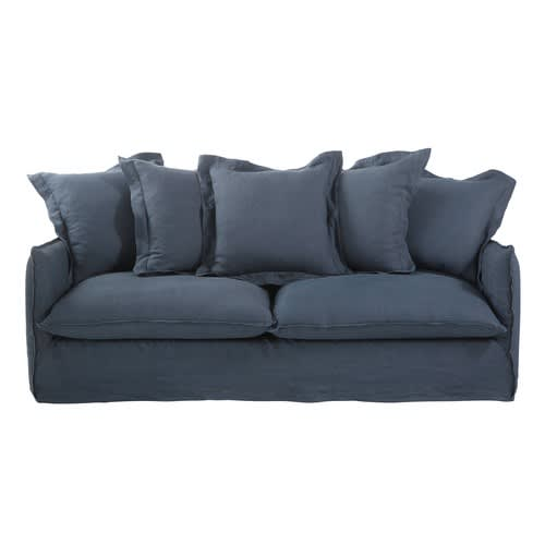 Ink Blue 3 4 Seater Washed Linen Sofa Bed
