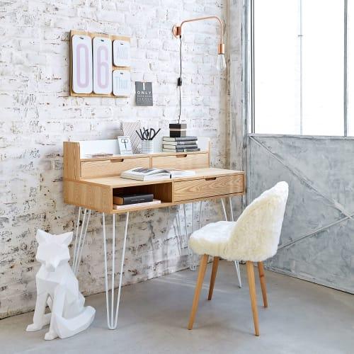 Ivory Faux Fur And Birch Vintage Chair Mauricette Maisons Du Monde
