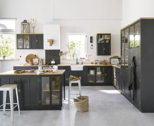 Keukenmeubel Met Glazen Zuil Van Massief Mangohout Grijs Leisteen En Metaal Cezanne Maisons Du Monde