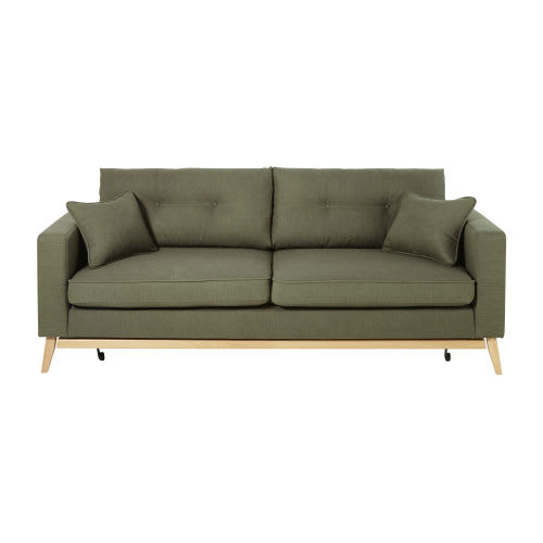 Awesome Khaki Green 3 Seater Scandinavian Style Sofa Bed Beutiful Home Inspiration Cosmmahrainfo