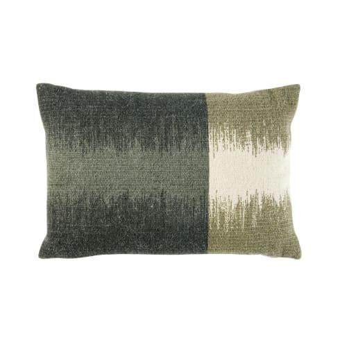 Kissen Aus Baumwolle Und Gewebter Wolle Zweifarbig 35x50
