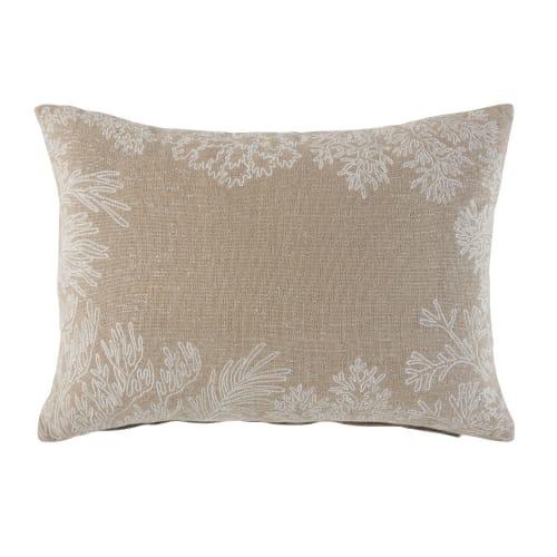 Kissen aus beigefarbener Baumwolle mit gestickten Korallen Motiven 35x50 | Maisons du Monde