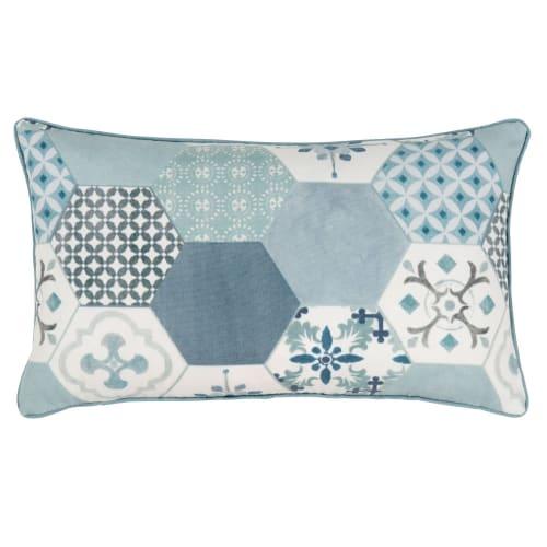 Kissenbezug Aus Baumwolle Blau Weiß Und Grau Mit Druckmotiv 30x50