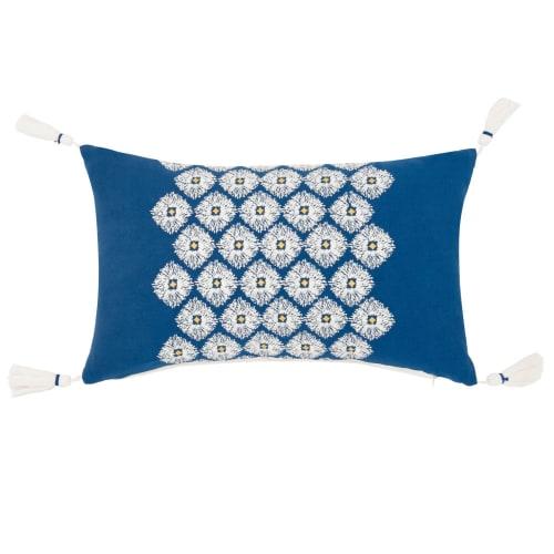 Kissenbezug Aus Baumwolle Mit Quasten Blau 30x50