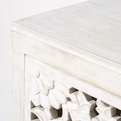 Kommode mit 3 Schubladen, aus massivem geschnitztem Mangoholz, weiß | Maisons du Monde