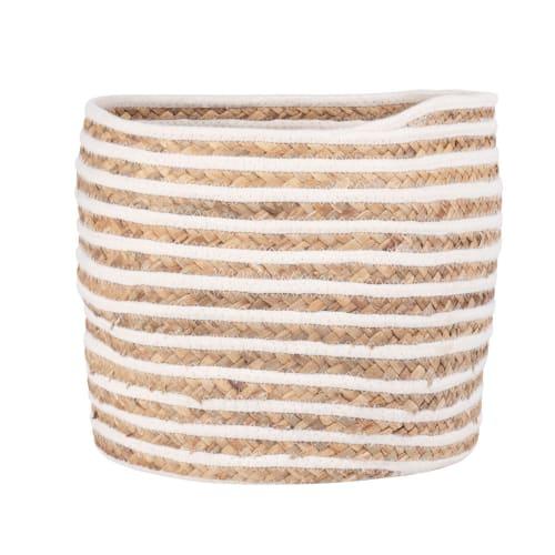Korb aus Pflanzenfasergeflecht und elfenbeinfarbener Baumwolle