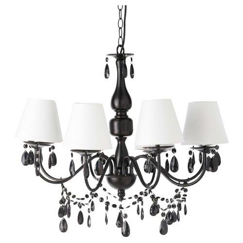 Kronleuchter mit Hängekristallen aus schwarzer Metallkronleuchter und  weißen Lampenschirmen