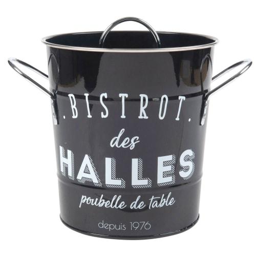 Küchen-Mülleimer aus schwarzem Metall, weiß bedruckt | Maisons du Monde