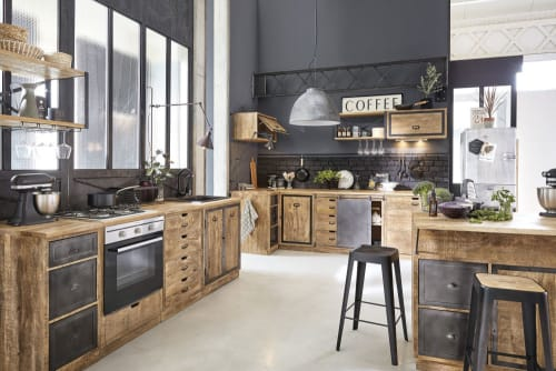 Küchen-Wandregal aus grauem Metall und massivem Mangoholz